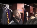 Lakers guard Kobe Bryant on Andrew Bynum in Lakers' 92-89 win over Denver Nuggets