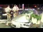 Pursuit Chase Suspects Crash into Gas Station / Carson   RAW FOOTAGE