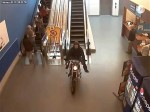 Raw: Canadian Police Chase Motorcycle in Mall